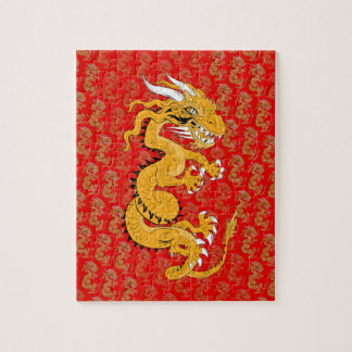 Yellow Sun Dragon on Red Jigsaw Puzzle