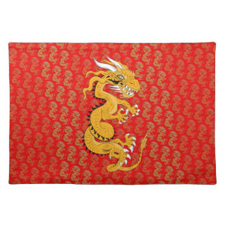 Yellow Sun Dragon on Red Placemat