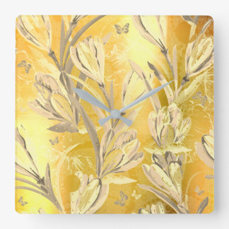 Yellow Sun  Ivory Brown Bohemian Floral Butterfly Wallclocks