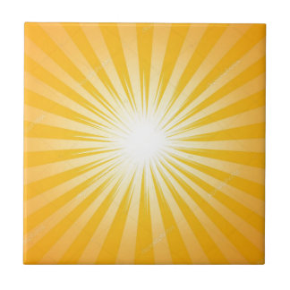Yellow Sun Rays Tile