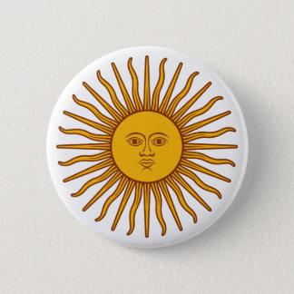 Yellow Sun Symbol Drawing On Dark Blue 2 Inch Round Button