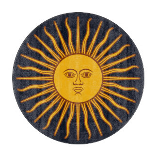Yellow Sun Symbol Drawing On Dark Blue Boards