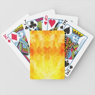 Yellow Sunburst Geometric Cube Design Bicycle Playing Cards