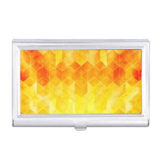 Yellow Sunburst Geometric Cube Design Business Card Holder