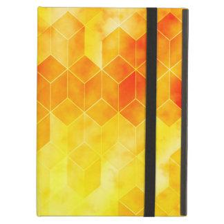 Yellow Sunburst Geometric Cube Design Case For iPad Air