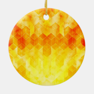 Yellow Sunburst Geometric Cube Design Ceramic Ornament