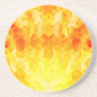 Yellow Sunburst Geometric Cube Design Coaster