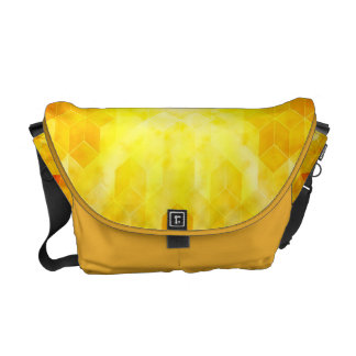 Yellow Sunburst Geometric Cube Design Commuter Bag