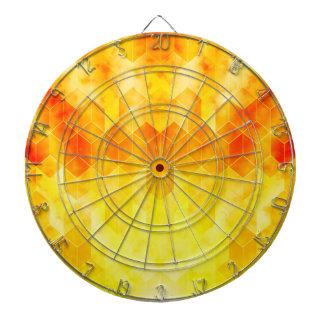 Yellow Sunburst Geometric Cube Design Dartboard