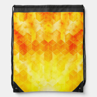 Yellow Sunburst Geometric Cube Design Drawstring Bag