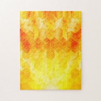 Yellow Sunburst Geometric Cube Design Jigsaw Puzzle