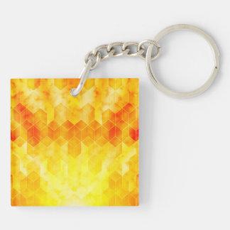 Yellow Sunburst Geometric Cube Design Keychain