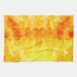 Yellow Sunburst Geometric Cube Design Kitchen Towel