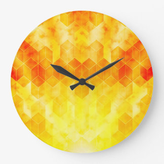 Yellow Sunburst Geometric Cube Design Large Clock