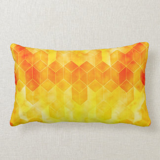 Yellow Sunburst Geometric Cube Design Lumbar Pillow