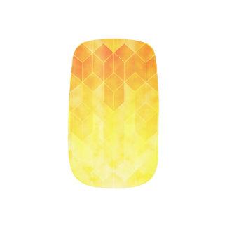 Yellow Sunburst Geometric Cube Design Minx Nail Art