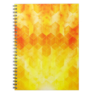 Yellow Sunburst Geometric Cube Design Notebooks