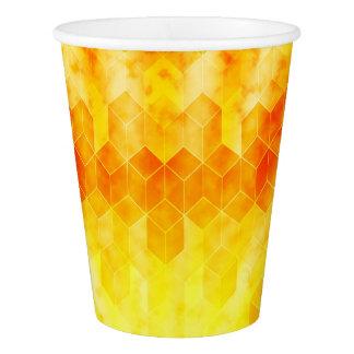 Yellow Sunburst Geometric Cube Design Paper Cup