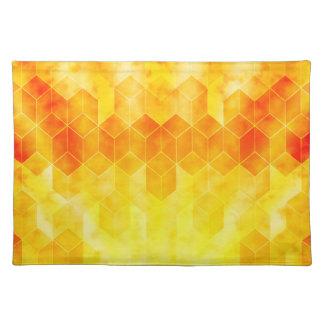Yellow Sunburst Geometric Cube Design Placemat