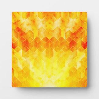 Yellow Sunburst Geometric Cube Design Plaque
