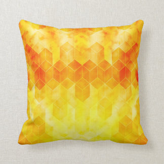 Yellow Sunburst Geometric Cube Design Throw Pillow