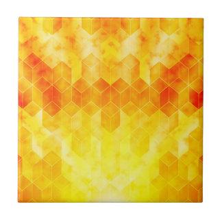 Yellow Sunburst Geometric Cube Design Tile