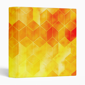Yellow Sunburst Geometric Cube Design Vinyl Binders
