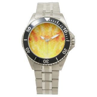 Yellow Sunburst Geometric Cube Design Watch