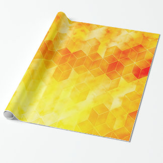 Yellow Sunburst Geometric Cube Design Wrapping Paper