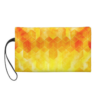 Yellow Sunburst Geometric Cube Design Wristlet