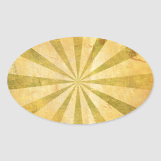 Yellow Sunburst Grungy Oval Sticker