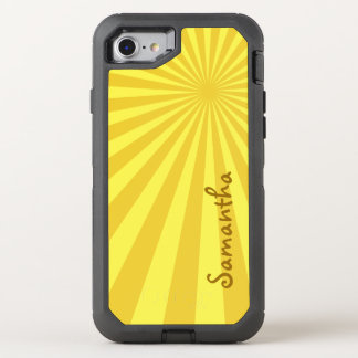 Yellow Sunburst Pattern with Your Name: Custom OtterBox Defender iPhone 8/7 Case