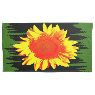 Yellow Sunflower accent Black and Green Pillowcase