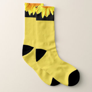 Yellow Sunflower accented Black Socks