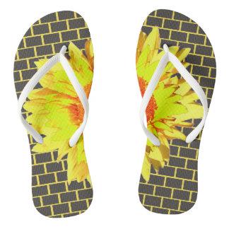 Yellow Sunflower Accented Gray Brick Yellow Flip Flops