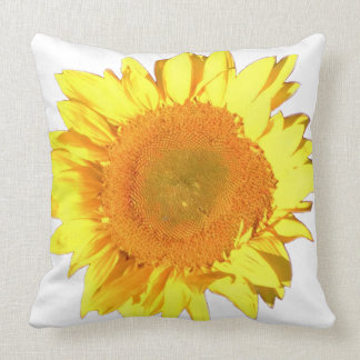 Yellow Sunflower accented with White Throw Pillow