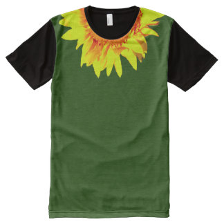 Yellow Sunflower Accenting Collar on Green All-Over-Print T-Shirt