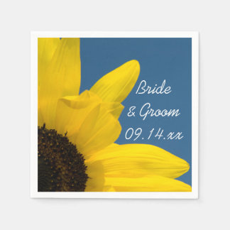 Yellow Sunflower and Blue Sky Wedding Disposable Napkin
