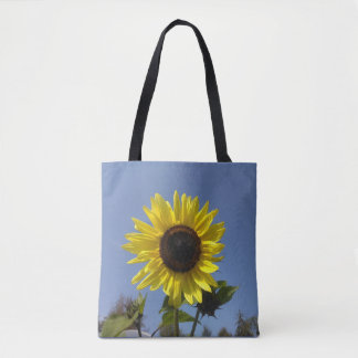Yellow Sunflower And The Blue Sky Tote Bag