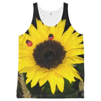 Yellow Sunflower And Two Ladybugs All-Over-Print Tank Top