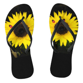 Yellow Sunflower And Two Ladybugs Flip Flops