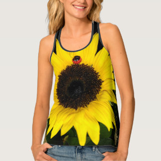 Yellow Sunflower And Two Ladybugs Tank Top