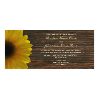 Yellow Sunflower & Barnwood Fall Wedding Invite