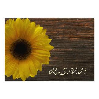 Yellow Sunflower & Barnwood Fall Wedding RSVP Custom Announcements