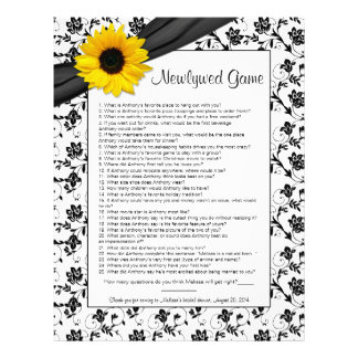 Yellow Sunflower Black Floral Bridal Shower Game Personalized Letterhead