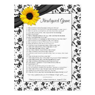 Yellow Sunflower Black Floral Bridal Shower Game Letterhead Template