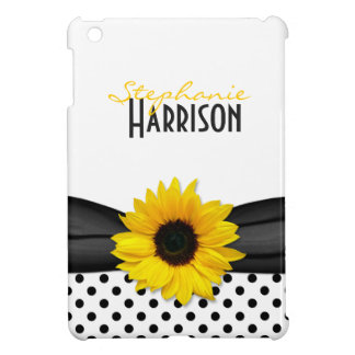 Yellow Sunflower Black White Polka Dots iPad Mini Cover