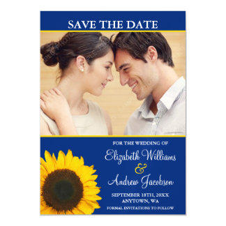 Yellow Sunflower Blue Photo Save the Date Magnetic Invitations