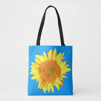 Yellow Sunflower Blue Sky Background on both sides Tote Bag