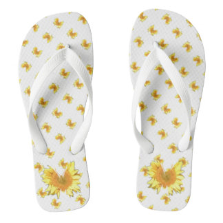 Yellow Sunflower Butterfly Flip Flop Shower Shoes